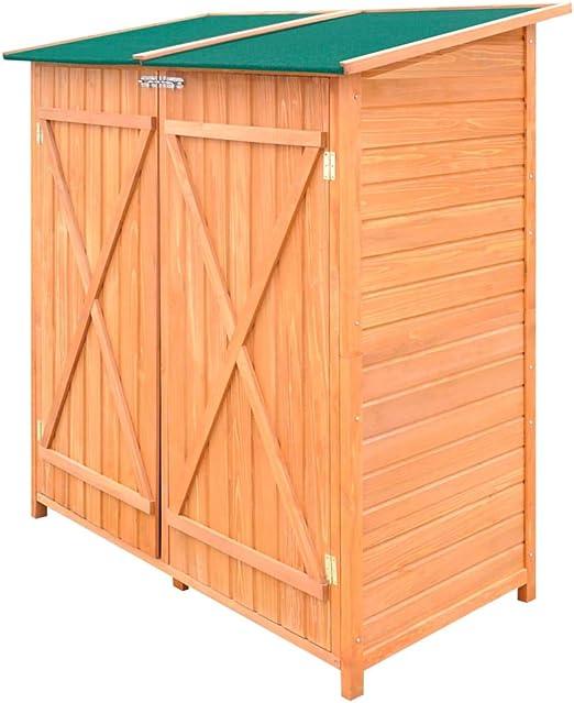 UnfadeMemory Caseta de Almacenamiento de Madera de Jardín con Taburete Alto,Cobertizo Exterior para Almacenar Herramientas,138x65,5x160cm: Amazon.es: Hogar