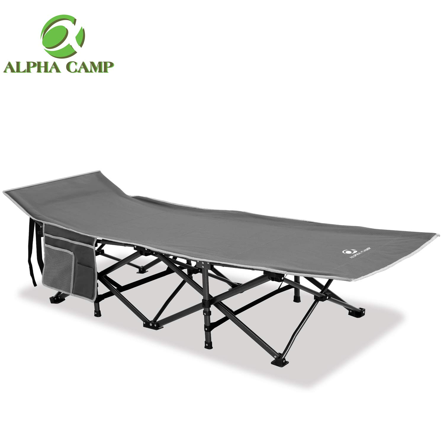 ALPHA CAMP Oversized Camping Cot Supports 600 lbs Sleeping Bed Folding Steel Frame Portable with Carry Bag by ALPHA CAMP