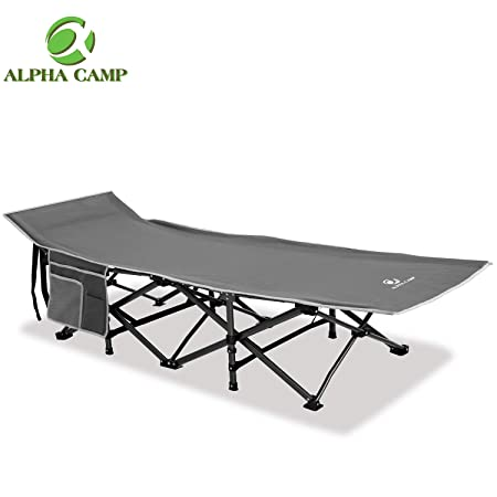 ALPHA CAMP Oversized Camping Cot Supports 600 lbs Sleeping Bed Folding Steel Frame Portable with Carry Bag