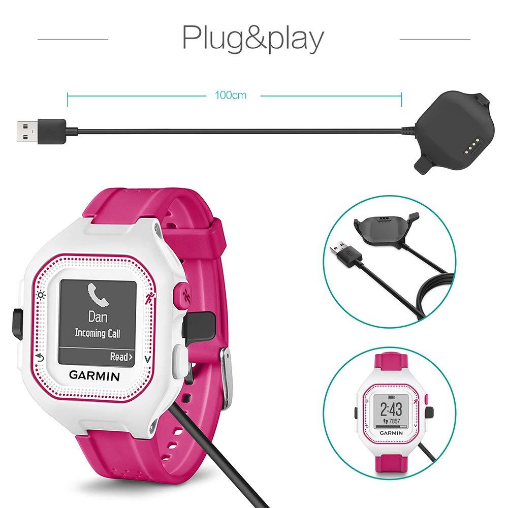 Clip per cavo di ricarica USB 100cm Accessori per il fitness Tracker Piccola dimensione TUSITA Caricabatterie per Garmin Forerunner 25 Orologio GPS
