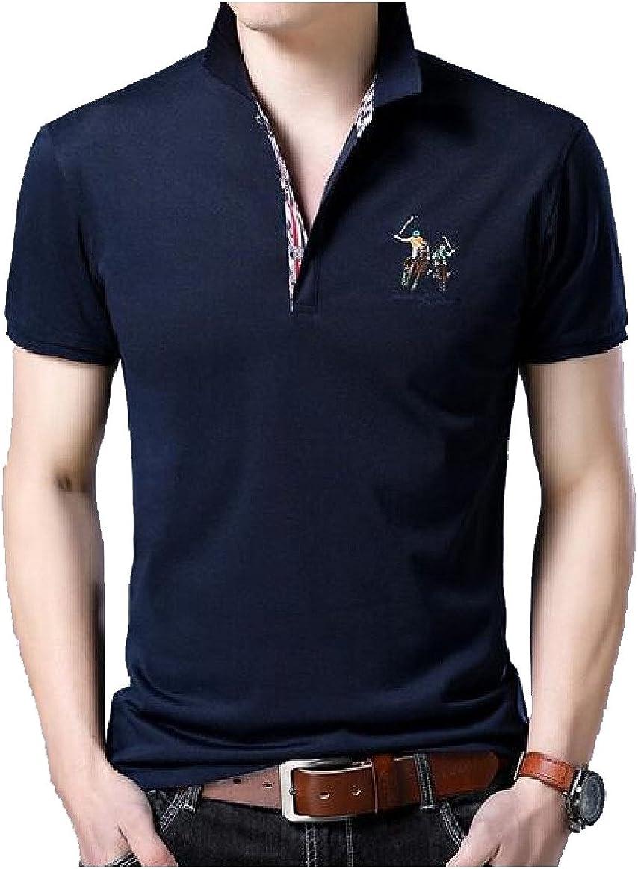 Tingwin Mens Turn-Down Collar Button Floral Short Sleeve Print Slim Shirt Top