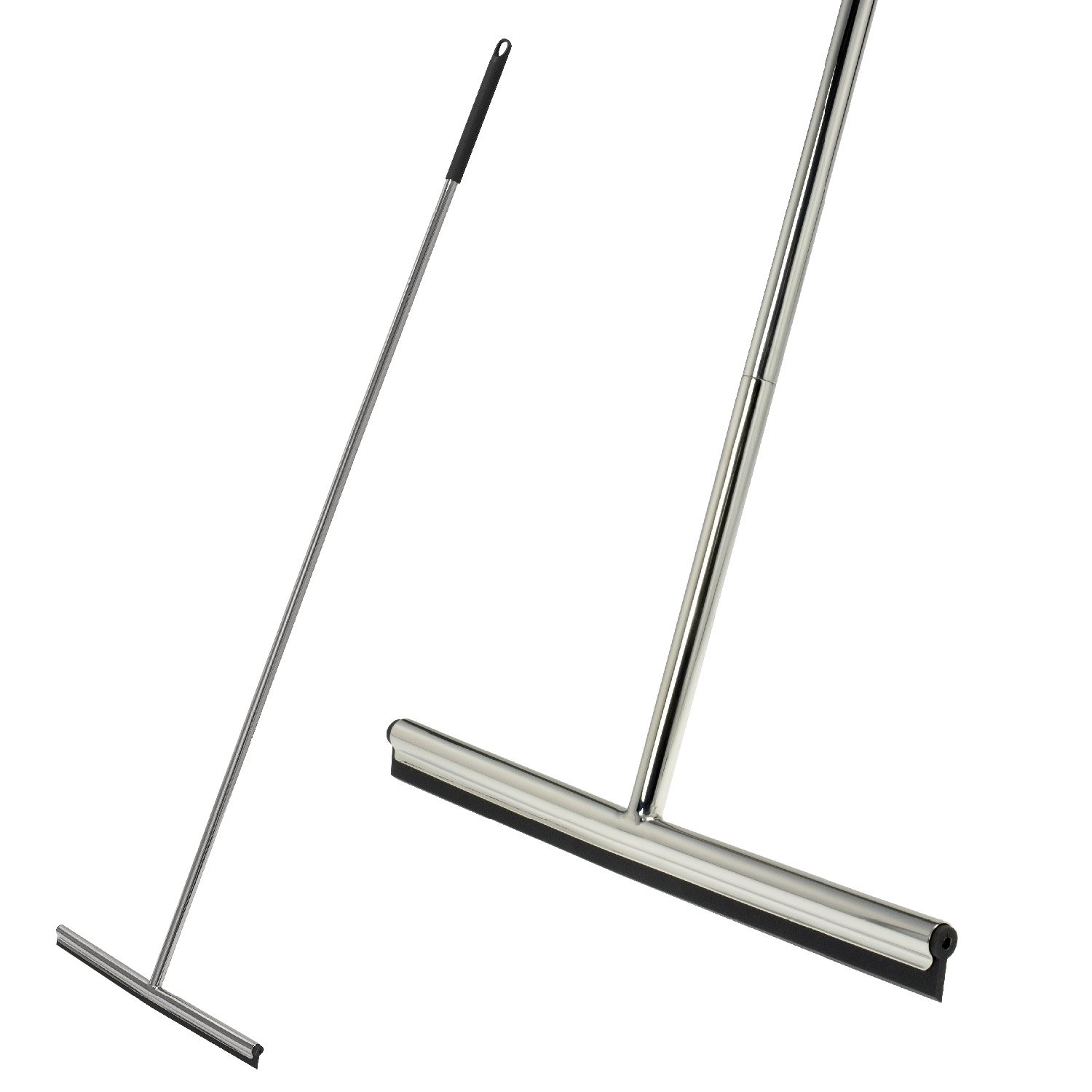 bremermann floor squeegee with wall-mount, made from polished stainless steel and silicone