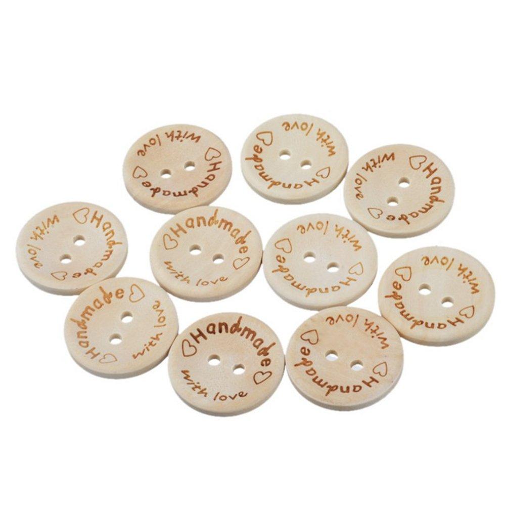Chytaii 100x Boutons Ronds en Bois Motifs Hand Made with Love Accessoires Décoration de Vêtement Couture DIY avec 2 Trous à Coudre pour Enfants