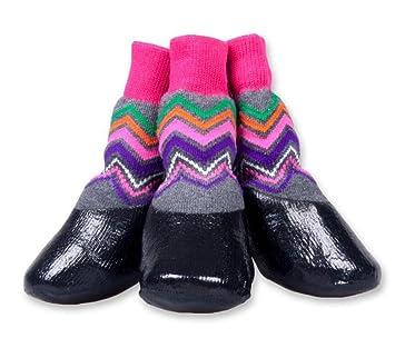WYXIN Calcetines impermeables para mascotas Calcetines respirables antideslizantes para exteriores Calzado para perros Zapatos dorados Peluche