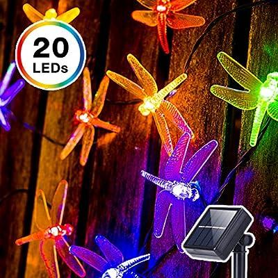 DecorNova Solar String Lights, 20 LEDs Dragonfly Solar Fairy Lights with Waterproof Solar Panel & 2 Lighting Modes for Outdoor Garden Patio Yard Party Christmas Holidays,13 Feet, Multi Color