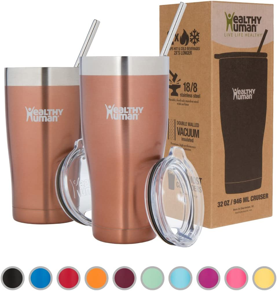 Healthy Human Insulated Stainless Steel Tumbler Travel Cruiser Cup with Straw and Lid 32 oz Sunset Gold