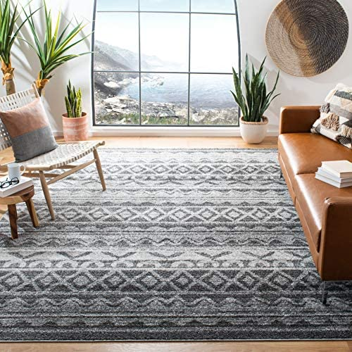 Safavieh Adirondack Collection ADR119N Ivory and Charcoal Modern Bohemian Area Rug 9 x 12