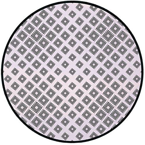 Printing Round Rug,Abstract,Minimalist Geometric Diamond Shaped InnerSquare Infinite Symmetric Lines Pattern Decorative Mat Non-Slip Soft Entrance Mat Door Floor Rug Area Rug For Chair Living Room,Bla