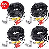 HISVISION 4 Pack 60ft BNC Video Power Cable Security Camera Wire Cord Extension Cable with 8pcs BNC to RCA Connectors for CCTV DVR Surveillance System