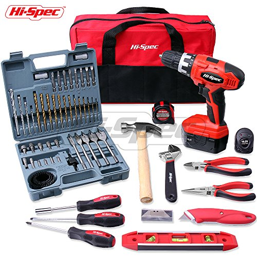 Hi-Spec 63pc 19.2V Pro Combo Cordless Drill Driver & Hand Tool Set with 1000mAh Battery, 17 Position Keyless Chuck, Variable Speed Trigger, 47pc Drill Accessories & Most Popular Hand Tools in Tool Bag