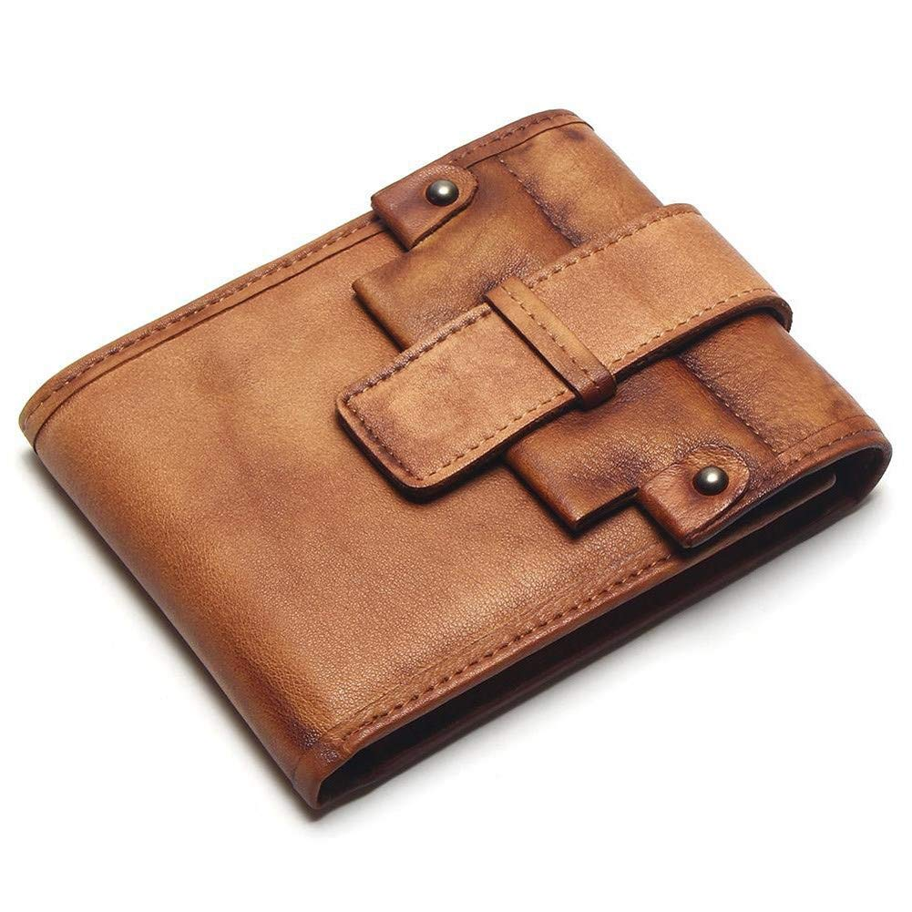 RcnryLeather Wallet Leather Recreational Wallet Bag Handbag Brown Vegetable Tanned Hand-Polished Mens Womens Short Card Bag Coffee