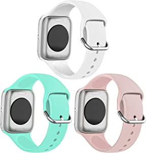 FRDERN Apple Watch Bands Compatible with Apple Watch 38mm 40mm 42mm 44mm Durable and Scratch-resistant Soft Silicone Replacement Strap for iWatch Series 5/4/3/2/1 & iWatch SE (White/Mint Green/Powder Sand, 42mm/44mm-S/M)