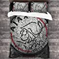 """Huaichuanhua AFC Ajax Amsterdam Club Socce Comfortable and Soft 3-Piece Bedding Set 86""""x70"""""""
