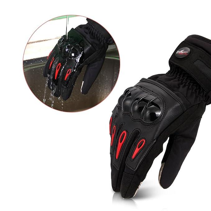 CARCHET Guantes de Motos Invierno Cálido Impermeable Guantes de Protección a prueba de viento Guantes para Moto para Pantalla Táctil Color Negro XL: ...
