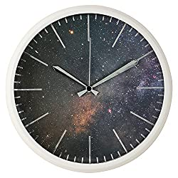 hito Modern the Universe Silent Non-ticking Wall Clock w/ Plastic Frame, Acrylic Front Cover- 12 inches (Black)