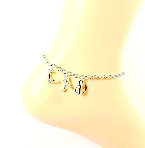 0fb2cbf6b Image Unavailable. Image not available for. Color  Initial Anklet Monogram Ankle  Bracelet Personalized ...