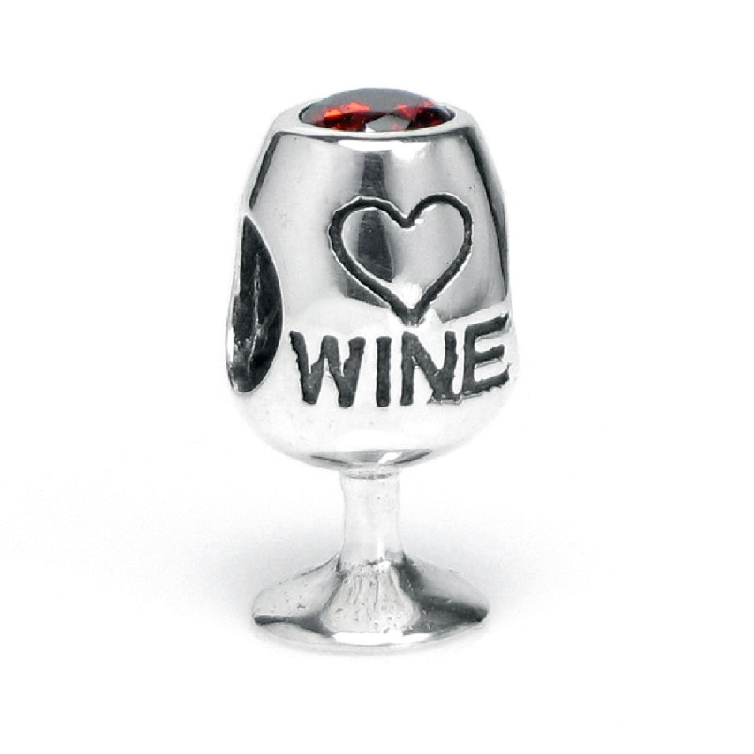 Queenberry .925 Sterling Silver Red Wine Lover Glass Cup Heart Love Cubic Zirconia Bead For European Charm Bracelets