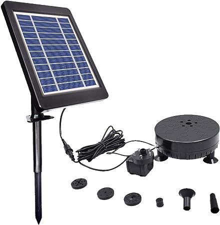LUXJET Fuente solar de 3,5 W con batería, fuente de jardín, bomba solar, bomba de agua solar, f...