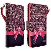 HTC Desire 626 / 626s Case- Magnetic Leather Folio Flip Book Wallet Pouch Case Cover With Fold Up Kickstand and Detachable Wrist Strap for HTC Desire 626 / 626s (Hot Pink Cheetah)