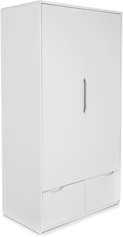 Alinea Cool Armoire De Chambre A 2 Portes Et 2 Tiroirs Blanc 98 0x18 Amazon Fr Cuisine Maison