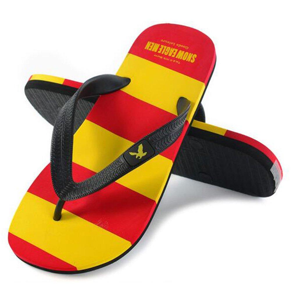 QIDI Sandalen Kunststoff Sommersaison Streifen Sandalen Farbblock Männer Flacher Boden Strandschuhe Hausschuhe (Farbe : T3, größe : EU42/UK8.5)