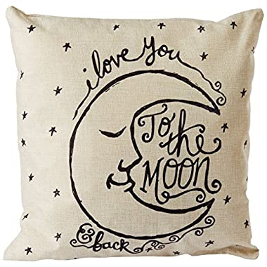 CoolDream I Love You to the Moon and Back Cotton Throw Pillow Case Vintage Cushion Cover 18  x 18