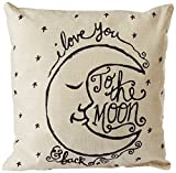 Decorative Pillow Cover - CoolDream I Love You to the Moon and Back Cotton Throw Pillow Case Vintage Cushion Cover 18