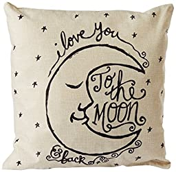 CoolDream I Love You to the Moon and Back Cotton Throw Pillow Case Vintage Cushion Cover 18\