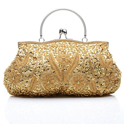 Floral Gold Soft Luxury Wedding Women's Bag Bead Handbag Clutch Evening Party Sunny Bags Sequin Tote Shinny Anik YtaHxUw