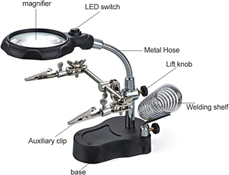 NEW Helping Hands Tool w// Magnifier Computer Repair Soldering Assistant Clips.