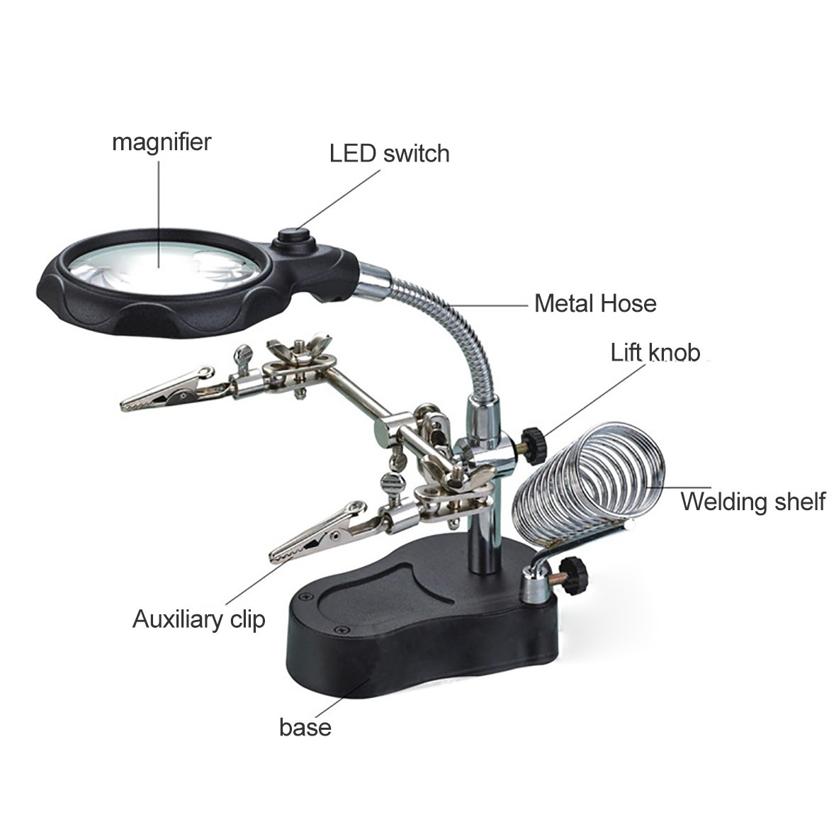 Helping Hands Soldering - ZRAMO LED Light Desktop Magnifier with 360-Degree Roating Lens, 3.5X 12X Illuminated with Clamp and Alligator Clips Red Hands Free Bench Magnifier