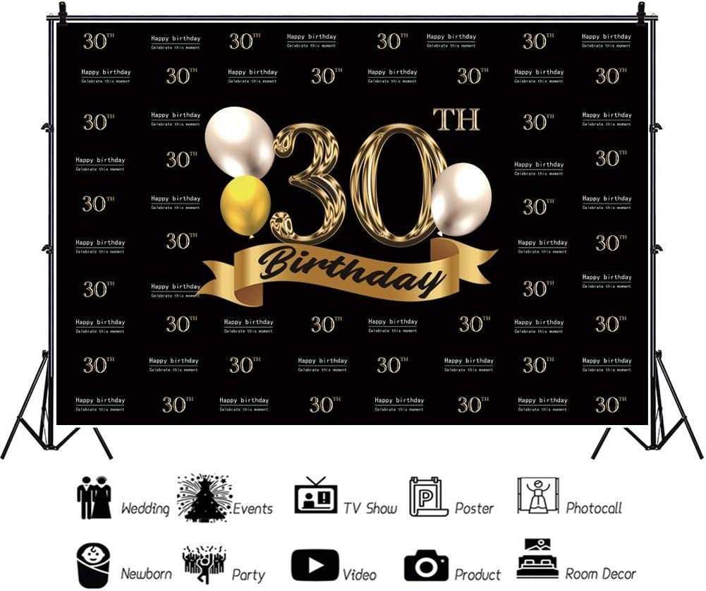 YEELE Fabulous 30th Birthday Backdrop 10x8ft Step and Repeat Banner Thirty Years Old Photography Background Lady Gentleman Portrait Photos Party Table Decoration Photobooth Props Digital Wallpaper