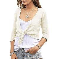 Pxmoda Womens Bolero Cardigan Tie Knot Front Shrug 3/4 Sleeve Cropped Summer Wrap Kimono Sweater Tops