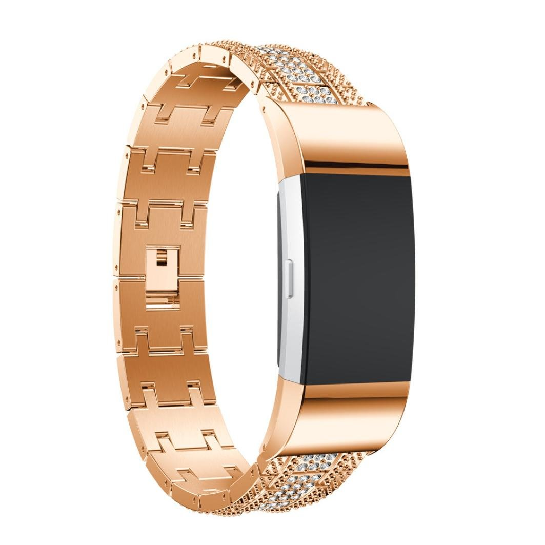 Binmer(TM) Luxury Alloy Crystal Watch Band Wrist Strap With Metal Frame For Fitbit Charge 2 (Rose Gold)
