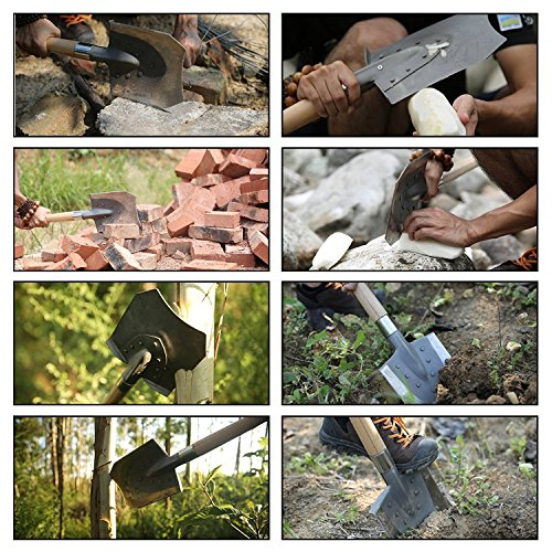 FiveJoy Military Entrenching Shovel with Hard Wood Handle (J2) Shoveling, Digging, Cutting, Chopping, Throwing, Self Defense Keep in Trunk for Emergencies Perfect for Camping and Off Roading