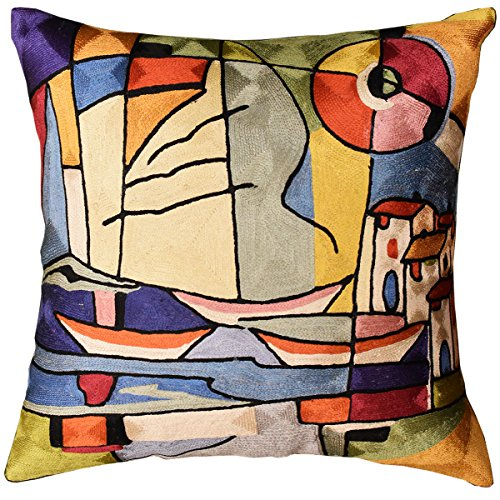 Kashmir Designs Americana North Atlantic by Alfred Gockel Accent Pillow Cover Art Silk ()