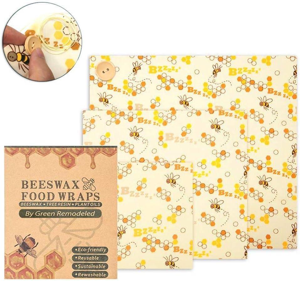 nachhaltig und waschbar,Kunststoff frei und biologisch abbaubar 3er-Pack umweltfreundliche Wiederverwendbare Lebensmittelverpackungen FloweryOcean Bienenwachst/ücher,Lebensmitteln Bienenwachstuch