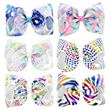 8 inch Large Baby Grosgrain Boutique Hair Bows Clip for Girls Accessories 6Pcs