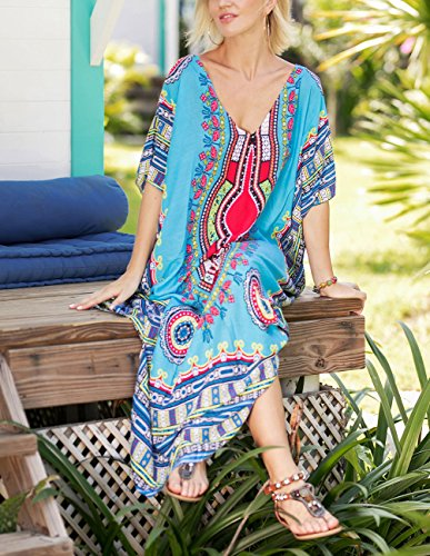 V Kaftan Blue Size Long Maxi Women Up Neck for Summer Cover Buauty Dresses Caftan Plus Dress wA0HnqI