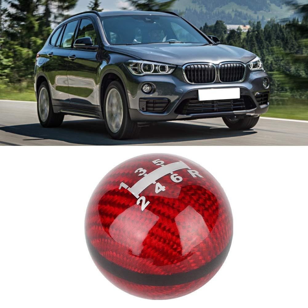 Qiilu Shift Knob,Universal Carbon Fiber 6-Speed Car Gear Shift Knob Head Shifter Lever