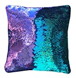 16'x16' with INSERT Mermaid Sequin Pillow that Changes Color,Reversible Flip Sequins. Perfect Throw Color Changing Pillow for Home Decor. Great Gift for all-Aqua purple