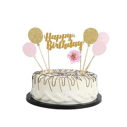 Amazon YUINYO Gold Glitter Balloon Happy Birthday Cake Topper