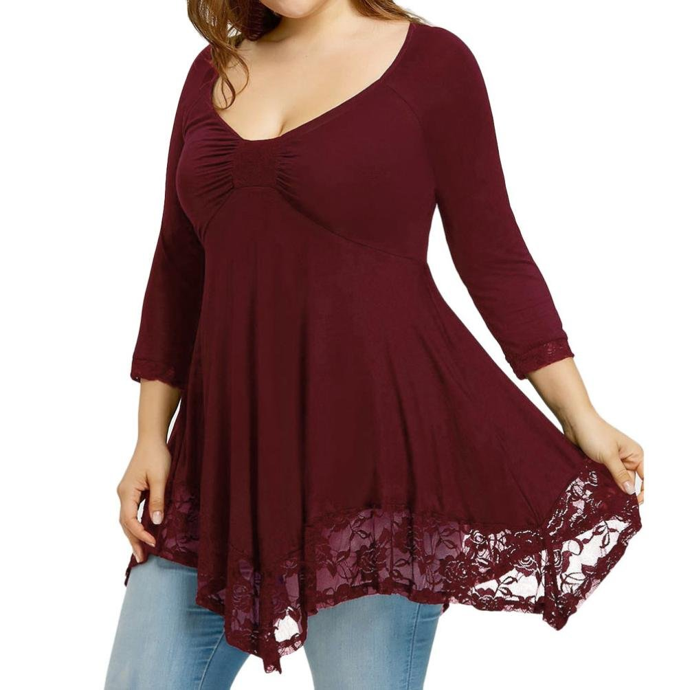 Qisc Womens Tops Women Plus Size 3/4 Sleeve Tunic Tops Loose Basic Shirt Blouse with Lace Hem (XXXL, Red)