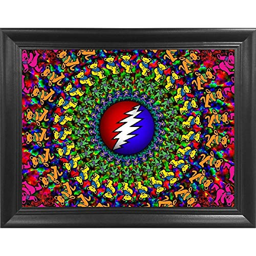 The Grateful Dead Dancing Teddy Bears Jerry Garcia 3D Poster Wall Art Decor Framed Print | 14.5x18.5 | Lenticular Posters & Pictures | Merchandise Gifts for Guys & Girls Bedroom | Vinyl Hits & Albums