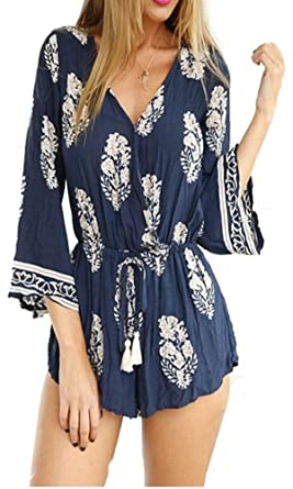 b3092d08762 Vincenza Womens Vibrant Bright Colour Paisley Aztec Summer Playsuit Romper  Jumpsuit Play Suit Top Shorts Belt All in One Size 6-16 Blue White UK  Stock  ...