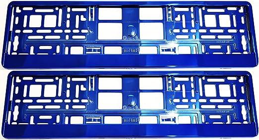 Teile 24 Eu Malinowski 2 X Kennzeichenhalter Chrom Blau Kennzeichenhalterung Vollverchromt Im Set Mit 8 Befestigungsschrauben Montageanleitug Kfz Schein Schutzhülle Gratis Auto