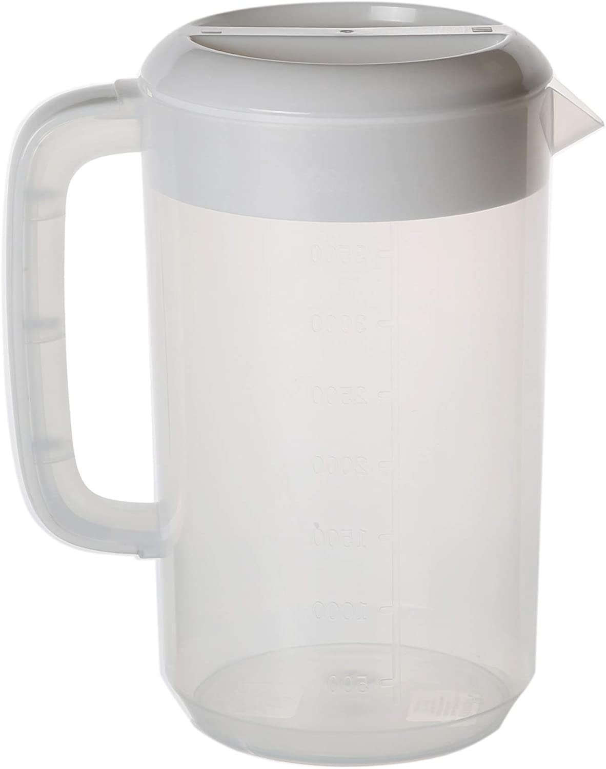 Gallon Plastic Pitcher with Lid/cover BPA-FREE Eco-Friendly Carafes Mix Drinks Water Jug for Hot/Cold Juice Beverage Ice Tea (135oz, White)