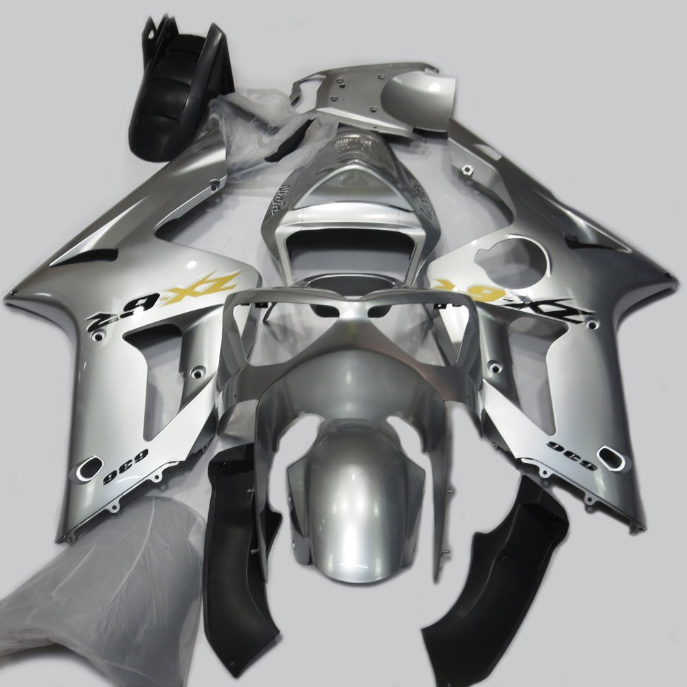 ABS Injection Molding - Silver Painted With Graphic Fairing Kit for Kawasaki Ninja ZX6R 636 (2003-2004)