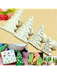 CheckOut 1 Set Cookie Cutte 4Pcs Tree Mould Pastry Cookie Fondant Sugarcraft Biscuit Cutter Cake Decor Mold, Ideal for... online