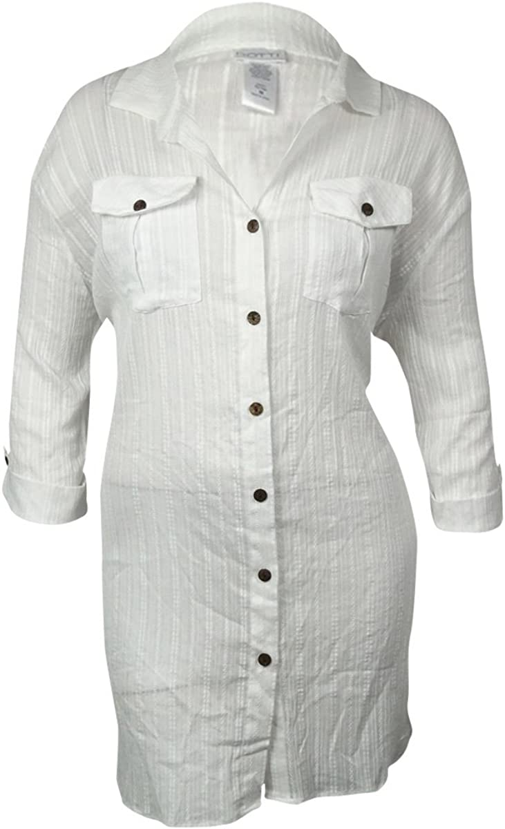 Dotti Womens Textured Cotton Button-Down Swimsuit Cover M, White